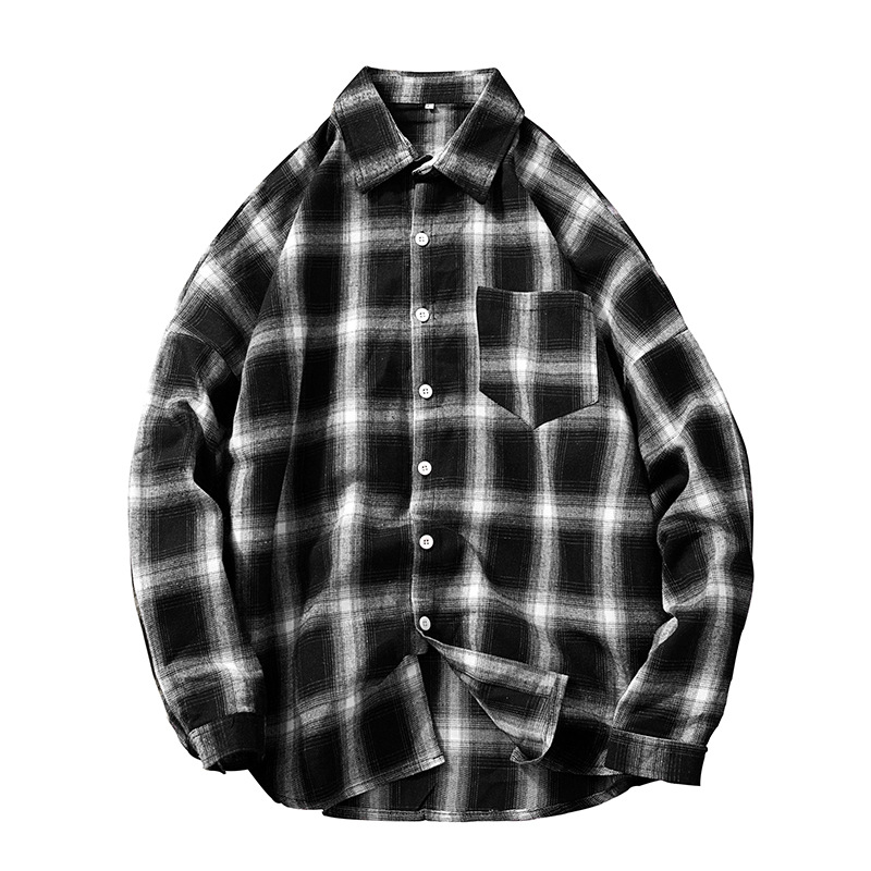 Quick sale men's Plaid picture foreign trade large check solid men's shirt autumn and winter New Pocket Shirt