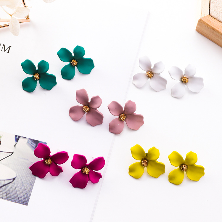 Alloy Korea Flowers earring(K8316 green) NHMS0847-K8316-green