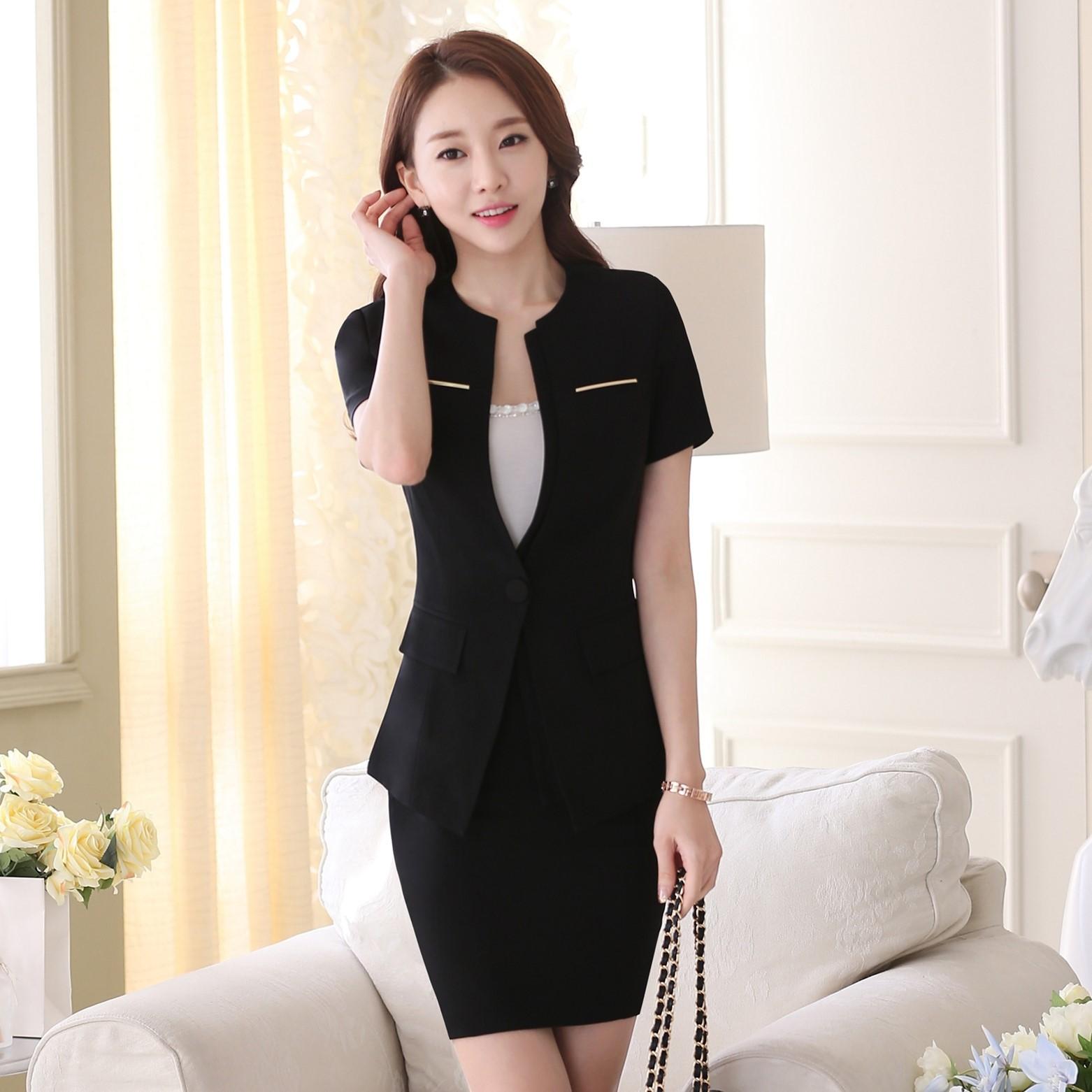 2021夏季套裙短袖职业装时尚OL修身女酒店经理美容师工作服