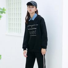 卫衣女2018冬季新款 韩版时尚翻领假两件胸前字母潮流百搭卫衣