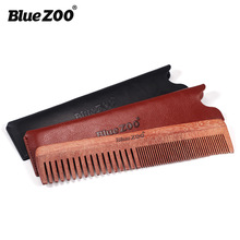 Red sandalwood comb + leather bag Thick and slender comb BlueZOO portable hair comb beard comb beard men's care