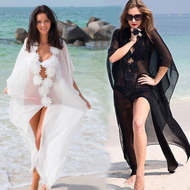 white black flowers loose beach bikini outer cover, wedding dress (3 colors available)