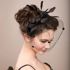Bridal bridal veil bow and headdress