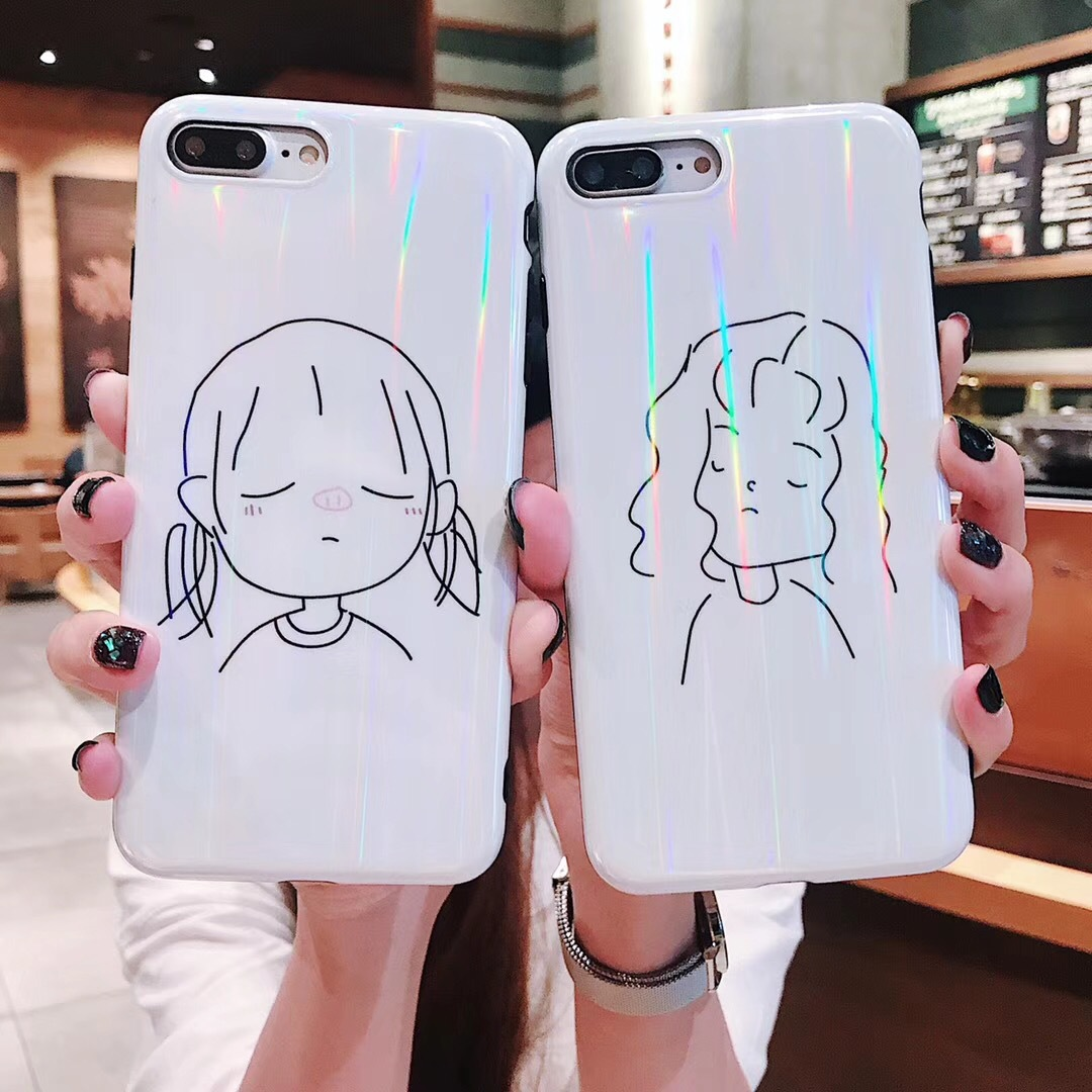 Good looking line girl iPhone8plus mobile phone shell Apple X simple female models 7P soft shell 6s silicone protective sleeve