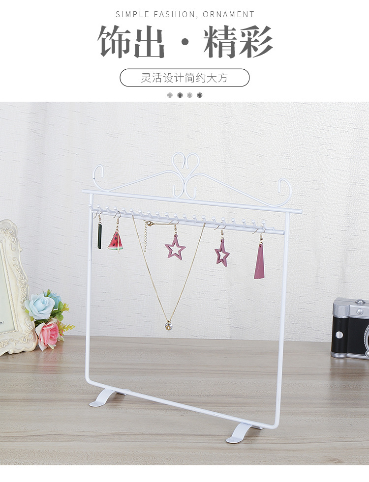 new fashion wrought iron metal jewelry display stand necklace storage rack hanging ear line shelf jewelry display hanger wholesale  NHAW235875