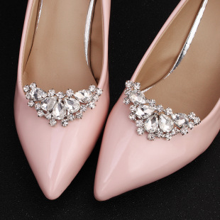 Fashion bridal accessories round removable alloy rhinestone pearl shoe buckle NHHS343859