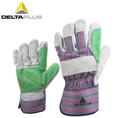 代尔塔204208牛皮bwin国际官方网站手套耐磨损抗撕裂焊工用防穿刺帆布掌背手套