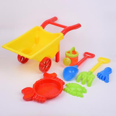 Trẻ em mới của mùa hè bãi biển đồ chơi 7 mảnh hai bánh giỏ hàng đồ chơi nhà sản xuất bán buôn bán hàng trực tiếp