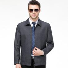 新款2019秋冬男式毛呢夹克中老年休闲外套上衣品牌男装茄克爸爸装