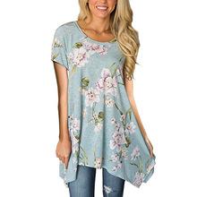 2018夏季亞馬遜歐美爆款印花短袖套頭女士不規則打底衫上衣T恤
