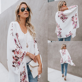 Summer new chiffon printed cardigan long-sleeved chiffon women's jacket a large number of stock