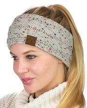 ebay亚马逊爆款空顶毛线头带帽点纱?#23454;?#38024;织麻花发带CC贴标马尾帽