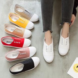 2021 новый низкий холст обувь студент квартира случайный обувь женская удар удаление бездельник обувной белые туфли поколение волосы