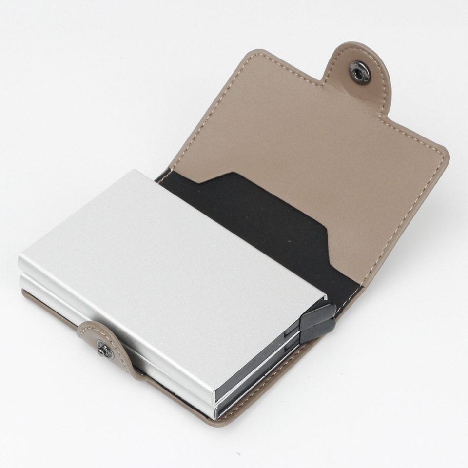 automatic pop-up metal wallet antitheft anti-magnetic RFID card case aluminum metal card  PU leather credit card holder