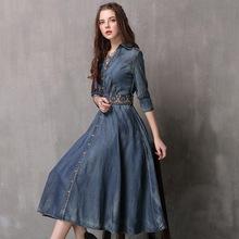原創品牌女裝2019秋裝新款修身牛仔裙 復古刺繡中袖連衣裙A82083