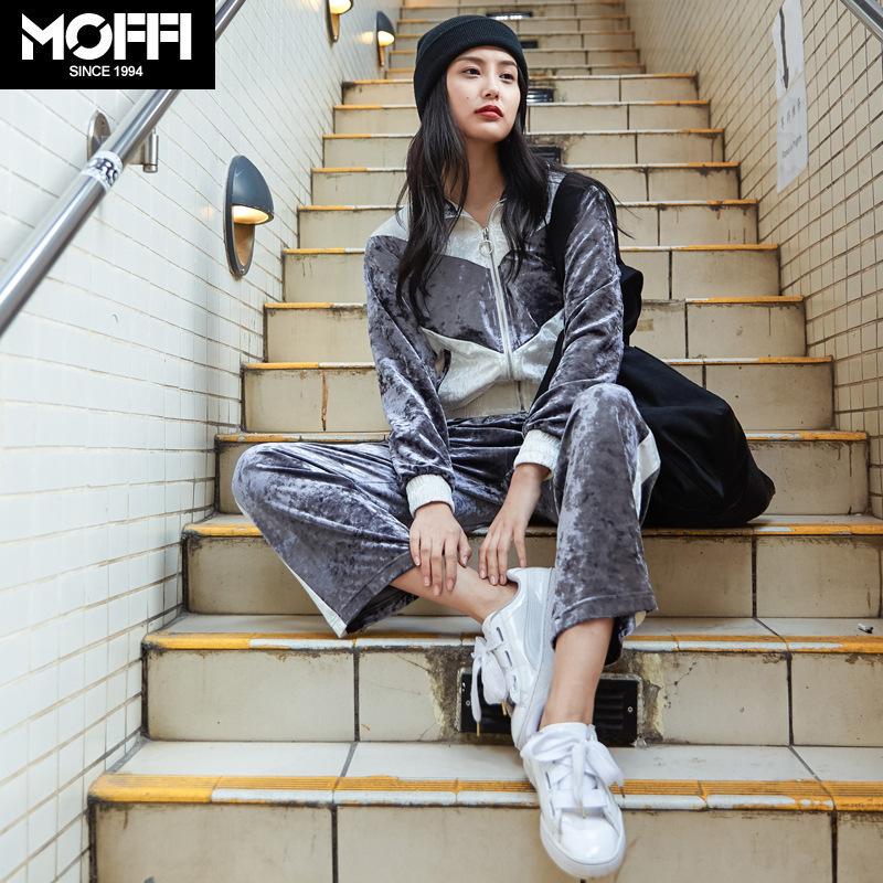 MOFFI18秋款新品女式爆款街头潮人撞色宽松丝绒运动休闲套装