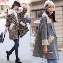 时?#30452;?#32441;毛呢外套女冬中长款2018新款韩版宽松羊羔毛拼接妮子大衣