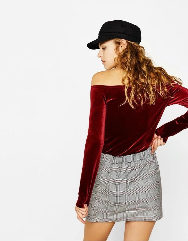 Sexy & Party Polyester  T-shirt  (Wine red -S)  NHAM1496-Wine red -S
