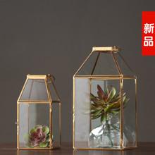 厂家直销 北欧铁艺铜色手提风灯烛台 几何金属花房 家居软装饰品