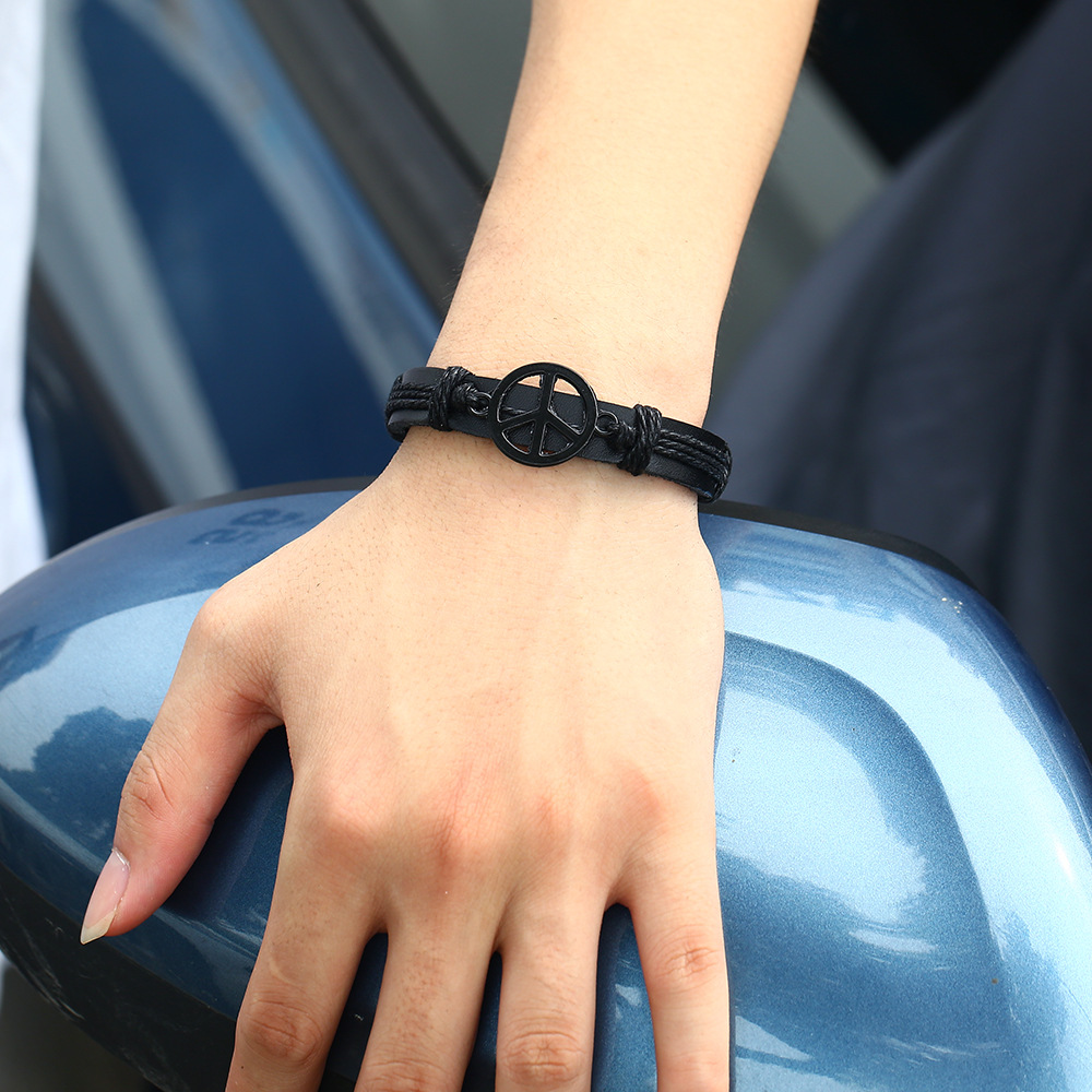 Leather Fashion bolso cesta bracelet  (black) NHPK2085-black