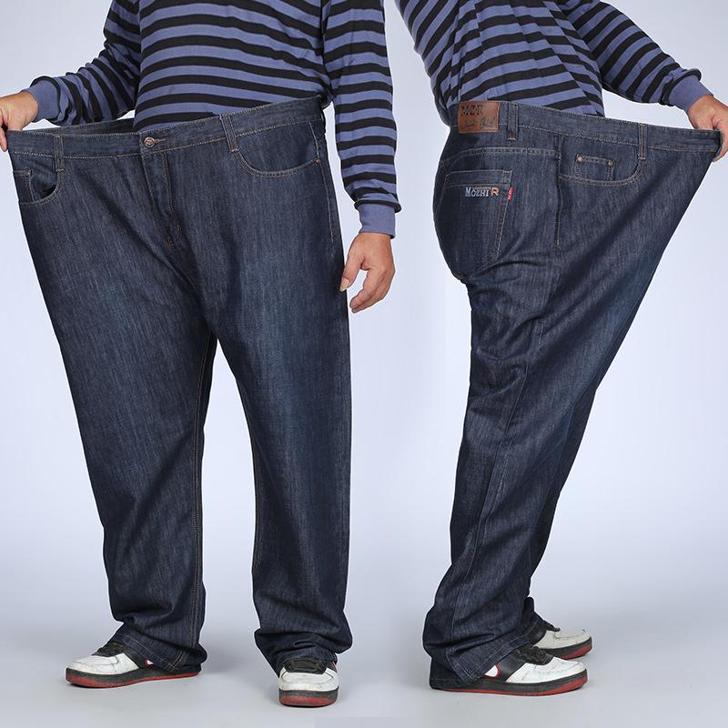 春秋季弹力加肥加大码牛仔裤男薄款宽松直筒中年爸爸胖子肥佬高腰