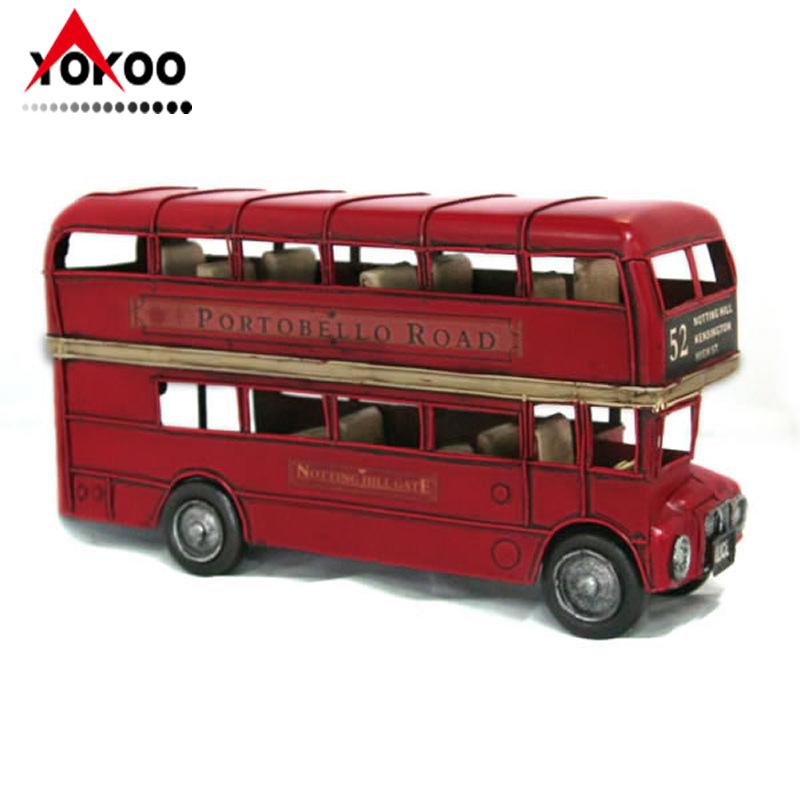 鐵皮仿古雙層巴士模型,紅色倫敦雙層公交車模型 (JLBS897M-R)