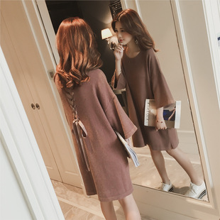 2019 autumn new Korean mid-length loose back strap bow knitted sweater dress women's clothing