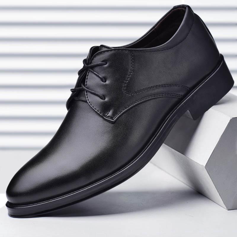 厂家直销2019新款男士皮鞋商务正装男鞋子系带百搭休闲鞋一件代发