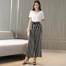 2018夏季韓版OL通勤套裝女時尚新款 修身襯衫條紋闊腿褲兩件套