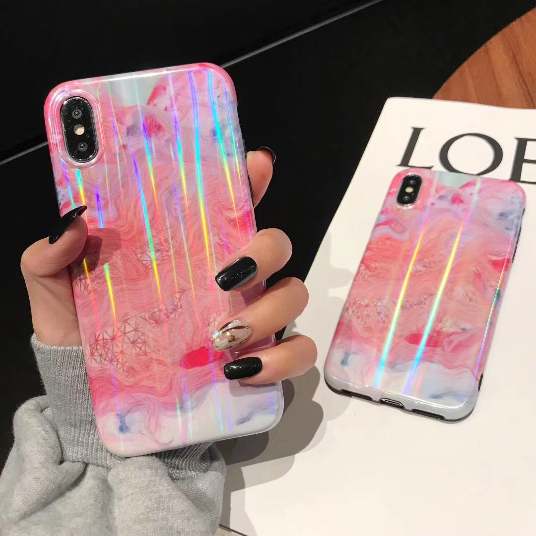 Pink marble pattern for iPhone7 mobile phone case all-inclusive imd apple 6s/8 glossy colorful iPhoneXS