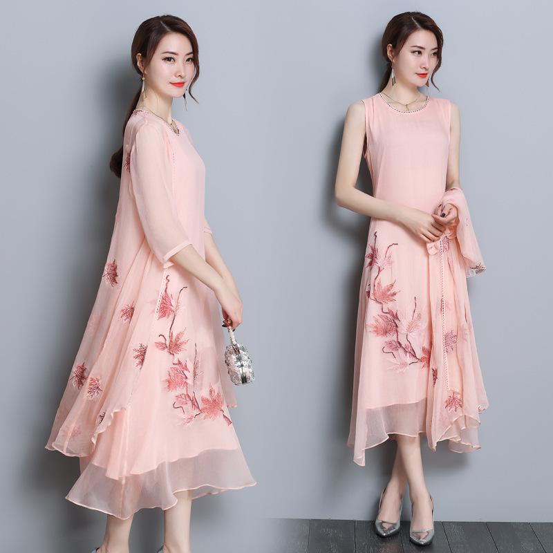 实拍2019春夏新款气质刺绣背心连衣裙真丝两件套女时尚套装