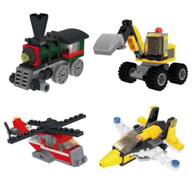 小颗粒积木挖掘机直升机变形益智拼装玩具早教启蒙礼品幼儿园礼物