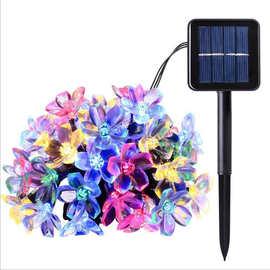 led太阳能桃花灯串亚马逊爆款50LED樱花灯串户外防水圣诞装饰彩灯