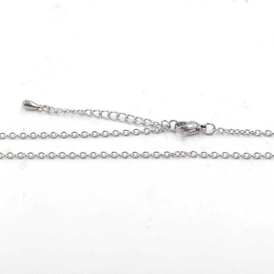 2mm不锈钢圆十字链 带5cm水滴延长链 DIY吊坠配件项链链条45/50cm