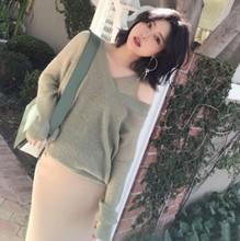 2019春季新款女装超轻薄透视毛纱马海毛两件套吊带v领针织衫女347