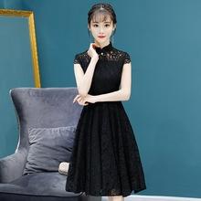 2018秋款提花刺绣旗袍黑色精致短款旗袍改良日常旗袍连衣裙