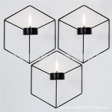 创意简约北欧现代几何图形蜡烛台铁艺金属挂饰摆件金属烛台工艺品