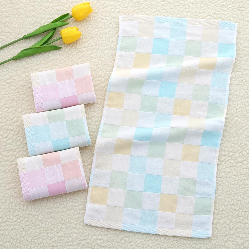 纯棉彩色纱布格子毛巾 柔软吸水洁面巾 定制绣花儿童毛巾批发