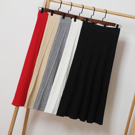 Mùa xuân và mùa thu A-line váy đan bước váy dài phần váy nữ 2019 mới gói hông váy len