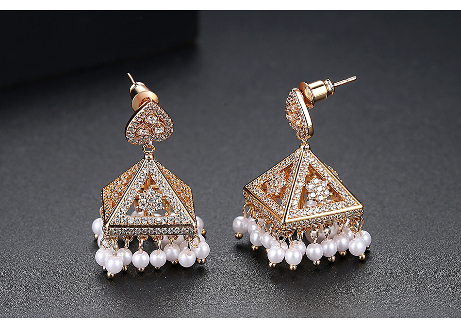 Alloy Fashion Geometric earring  (Champagne alloy) NHTM0315-Champagne-alloy