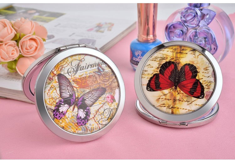 Fashion butterfly pattern double-sided folding portable beauty mirror NHBM130107