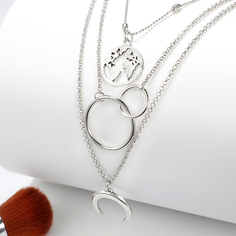 Fashion geometric circle water drop horns moon hollow world map long threelayer necklace clavicle chain NHGY187737