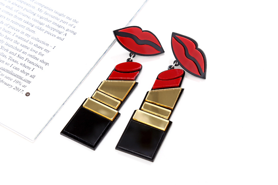 Fashion exaggerated punk hiphop style acrylic sexy lipstick earrings wholesale NHXI243619