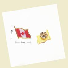 批发加拿大国旗胸针铁质蝴蝶扣滴塑徽章领针 Canada lepel pin