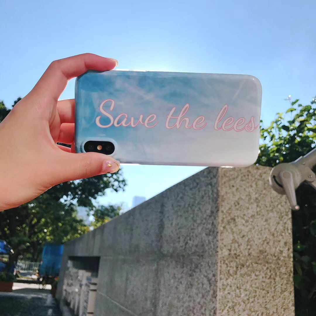 New simple iPhone7 blue sky mobile phone case 6Plus drop protection sleeve fashion English 7P couple shell