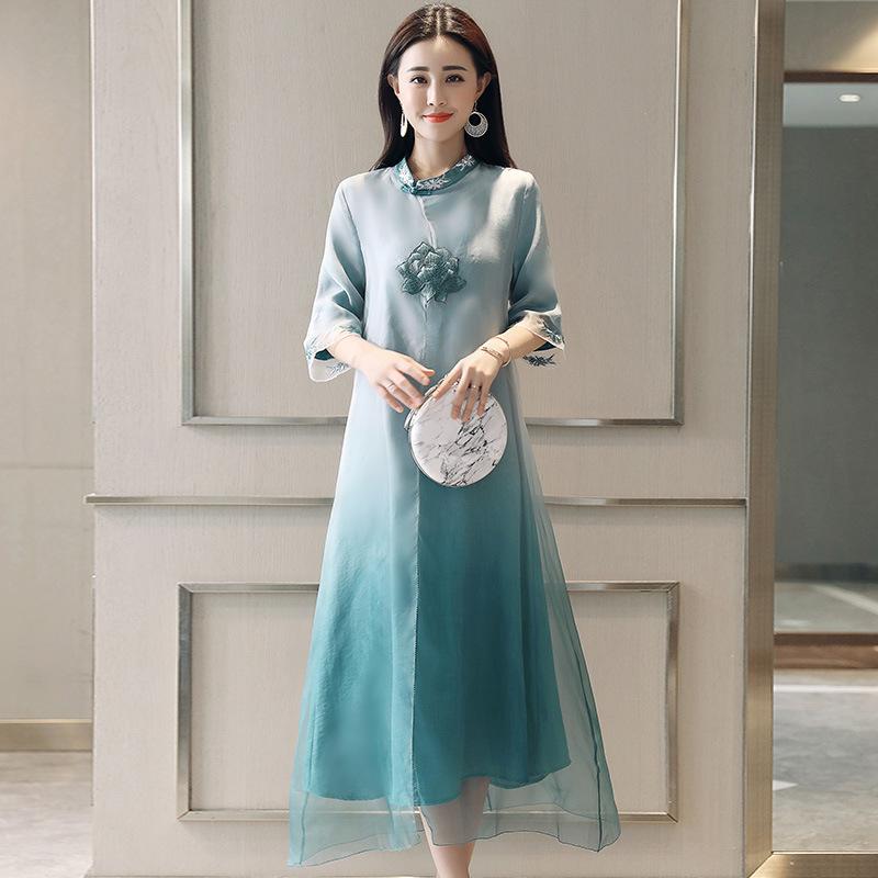 2019新款女装夏装中国风茶服女禅意长裙改良旗袍连衣裙中长款裙子