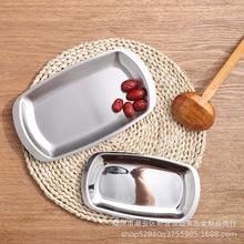 韩式不锈钢方碟烤肉碟平底盘菜碟小吃盘素菜盘点心碟韩国料理餐具