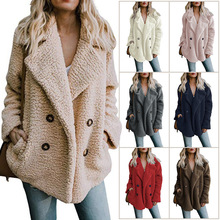 Autumn and winter new loose sweaters Europe and the United States explosion models long-sleeved double-breasted fur coat female hair