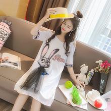 女装T恤淘工厂针织印花宽松露肩中长款来图来版贴牌生产加工定制