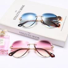 18475切片大框圆形太阳镜女 2018新款太阳镜 欧美时尚潮流墨镜